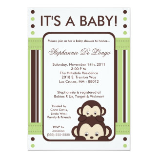 5x7 Pop Monkey Neutral Jung Baby Shower Invitation