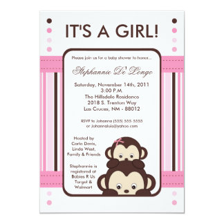 5x7 Pop Monkey Pink Jungle Baby Shower Invitation