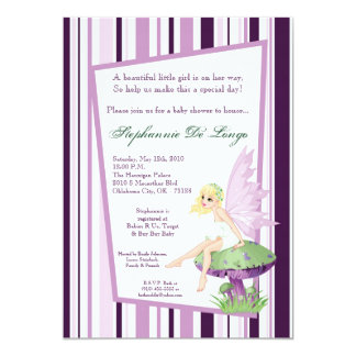 5x7 Purple Fairy Baby Shower Invitation