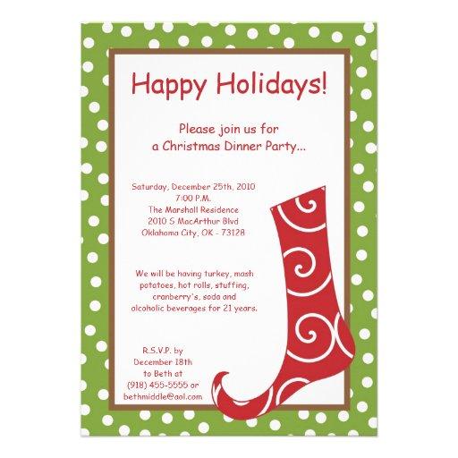 Stocking Christmas Party Invitation