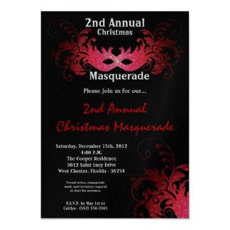 5x7 Red Masquerade Christmas XMAS Invitation
