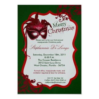 5x7 Red Masquerade Mask Christmas XMAS Invitation