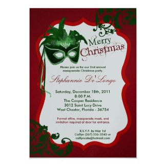 5x7 Red Masquerade Mask Christmas XMAS Invitation