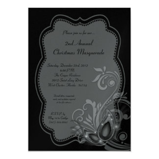 5x7 Silver Masquerade Christmas XMAS Invitation