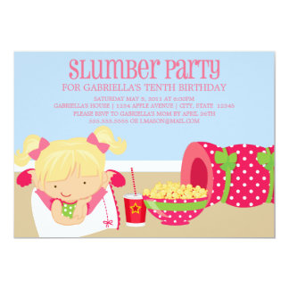 5x7 Slumber Party Birthday Invite