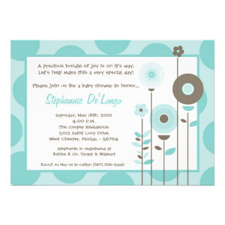 5x7 Spring Time Blue Flower Baby Shower Invitation Cards