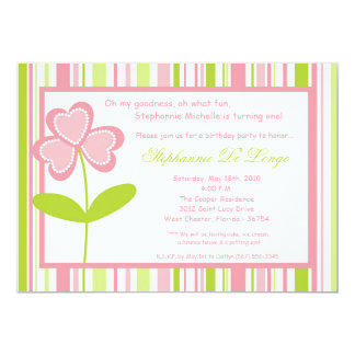 5x7 Spring Time Flower Birthday Party Invitation