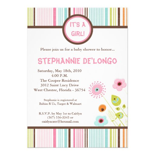 5x7 Spring Time Flowers Baby Shower Invitation Personalized Announcements
