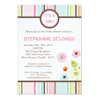 5x7 Spring Time Flowers Baby Shower Invitation