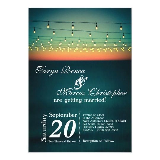 5x7 Sunset String Lights Yard Wedding Invitation