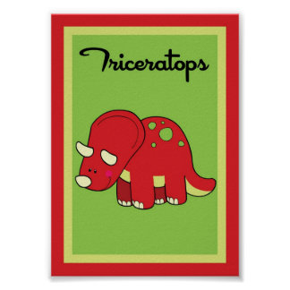 5X7 Triceratops Dinosaurs Wall Art Print