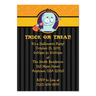 "5x7 Trick or Treating Ghost Halloween Invitations 5"" X 7"" Invitation Card"