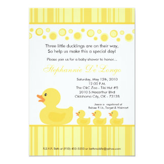 5x7 TRIPLETS Rubber Duck Baby Shower Invitation