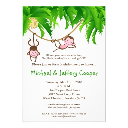 5x7 TWINS Monkey Jungle Birthday Party Invitation Announcement