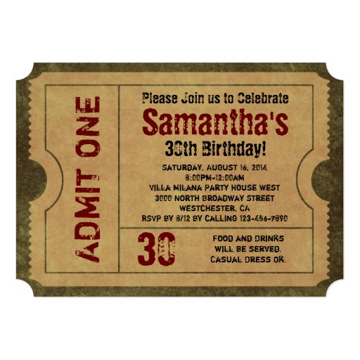 5x7 Vintage Gold Party Ticket Invitations