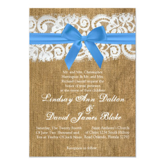 5x7 Wedding Invitation Blue Burlap Lace