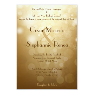 5x7 Wedding Invitation Christmas Copper Blur Light