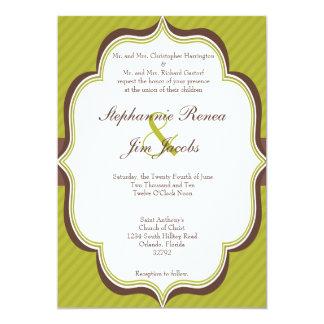 5x7 Wedding Invitation Green Brown Modern Stripe