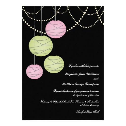5x7 Wedding Pink & Green Paper Lanterns Invite