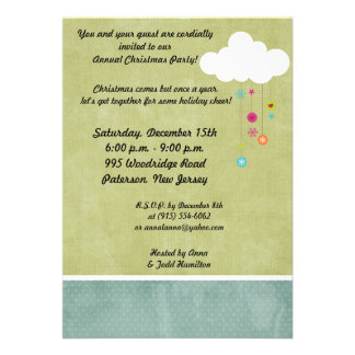 5x7 Winter Cloud Snowflakes Christmas Invitation
