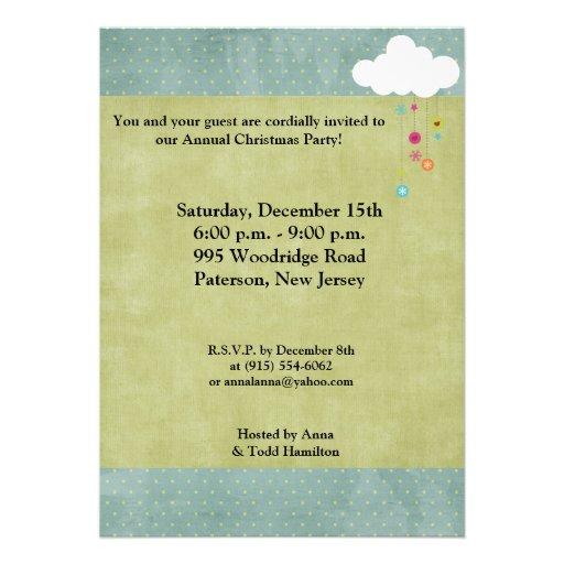 5x7 Winter Cloud / Snowflakes Christmas Invitation