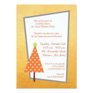 5x7 Winter Orange Christmas Tree Invitation