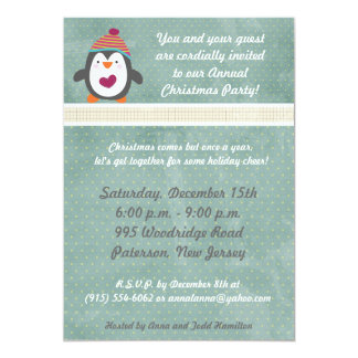 5x7 Winter Penguin Christmas Party Invitation