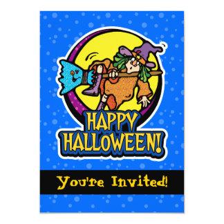 "5x7 Witch Falling Off Broom Halloween Invitations 5"" X 7"" Invitation Card"