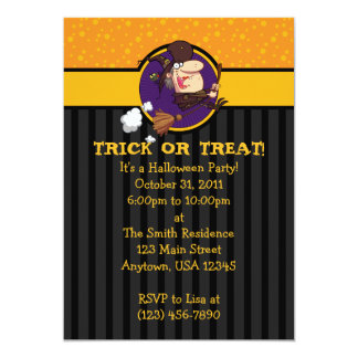 """5x7 Witch On Broom Halloween Party Invitations 5"""" X 7"""" Invitation Card"""