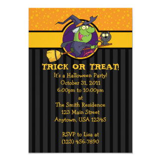"5x7 Witch With Cat Halloween Party Invitations 5"" X 7"" Invitation Card"