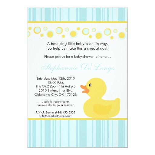 5x7 Yellow Rubber Ducky Baby Shower Invitation | Zazzle