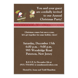 5x7Penguin / Reindeer Christmas Games Invitation