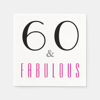 60 and Fabulous 60th Birthday Party Paper Napkins Paper Napkin