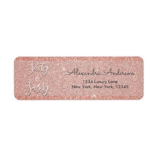 60 and Sassy Birthday Rose Gold Blush Pink Glitter Return Address Label