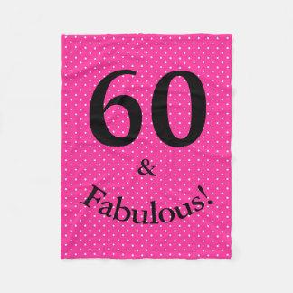 60 & Fabulous Birthday Bright Pink Polka Dots Fleece Blanket