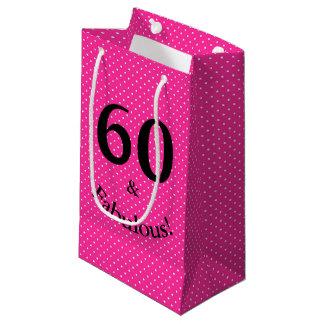 60 & Fabulous Birthday Bright Pink Polka Dots Small Gift Bag