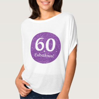 60 & Fabulous Birthday Celebration Purple Sparkle T-Shirt