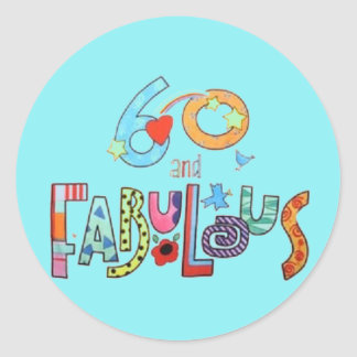 60 & Fabulous Colorful Birthday Lettering Balloons Classic Round Sticker