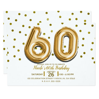 60 Gold Balloons & Confetti 60th Birthday Party Card