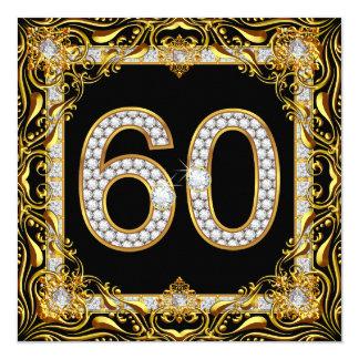 60 Gold Diamond Black 60th Birthday Party 13 Cm X 13 Cm Square Invitation Card