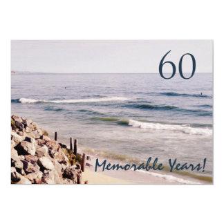 60 Memorable Years/Birthday Party-Ocean 13 Cm X 18 Cm Invitation Card