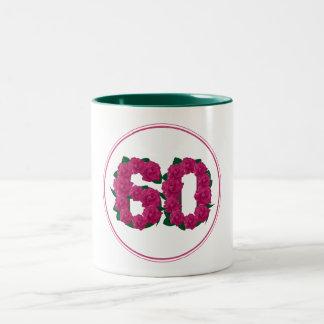 60 Number 60th Birthday Anniversary cute pink mug