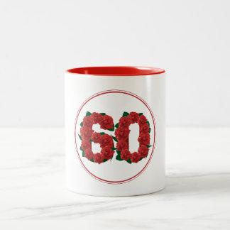 60 Number 60th Birthday Anniversary red mug