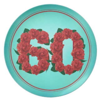 60 number birthday anniversary 60th roses plate