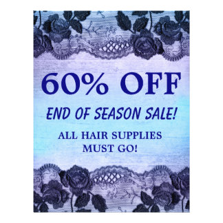 60 OFF Sale Flyer HAIR SALON Rose Floral Blue