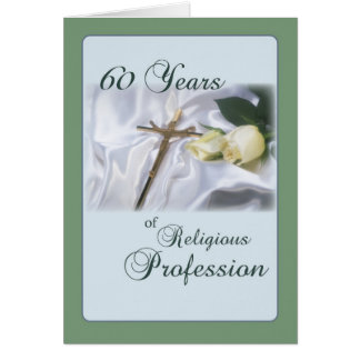 60 Year Anniversary for Nun, Religious Profession Card