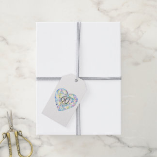 60 years diamond heart watercolor art gift tags