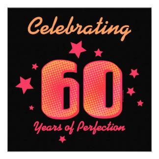 60 Years of Perfection Custom Birthday Invitation