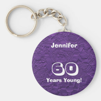 60 Years Young Purple Dolls Keychain (Key Chain)