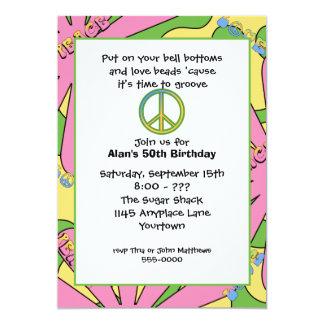 """60s Birthday Party Invitation 5"""" X 7"""" Invitation Card"""